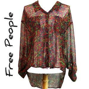 Free People Sheer Floral High Low Long Sleeve Top